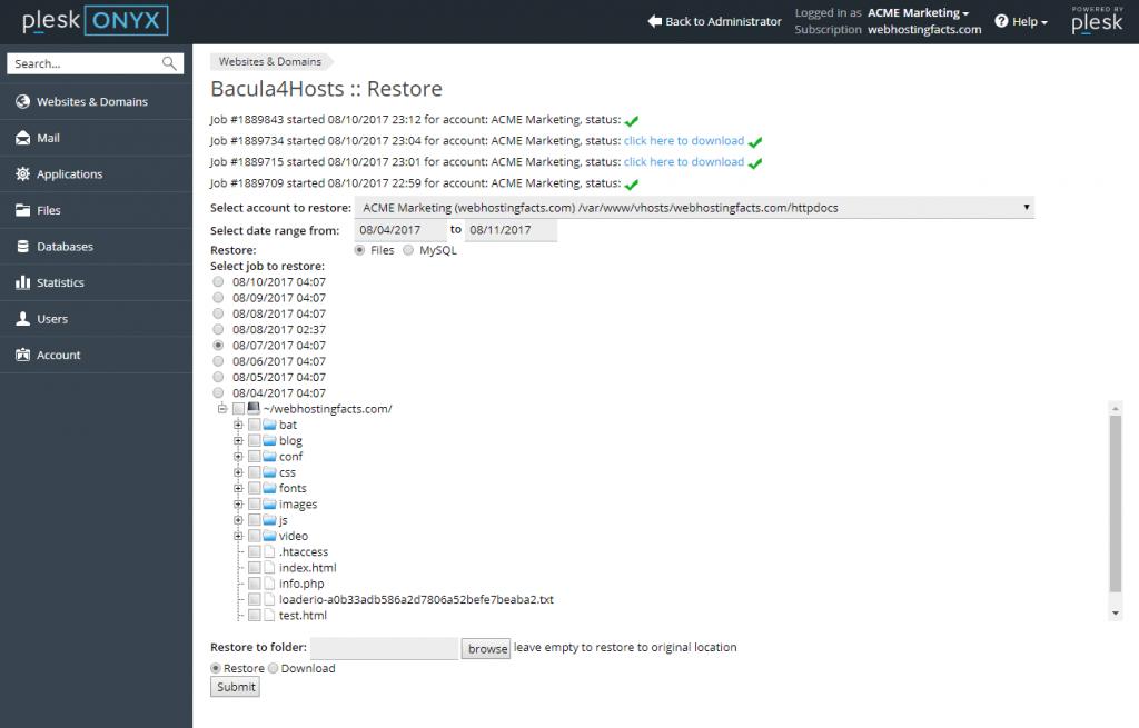 Select Bacula Restore Files