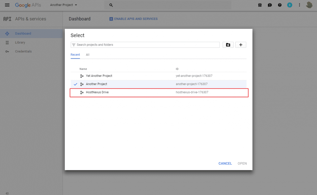 google-api-select-new-project