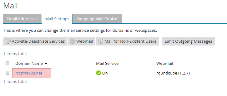 Plesk Mail Settings