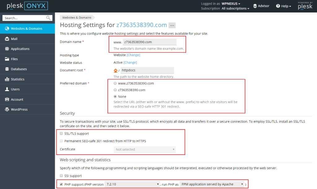 hosting-settings