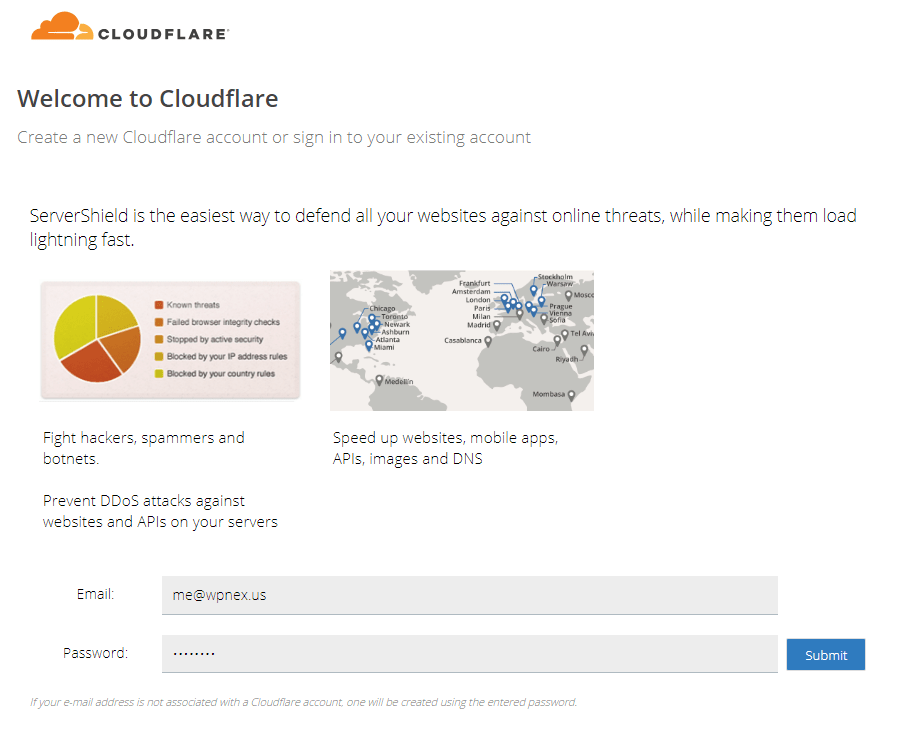 Signup CloudFlare