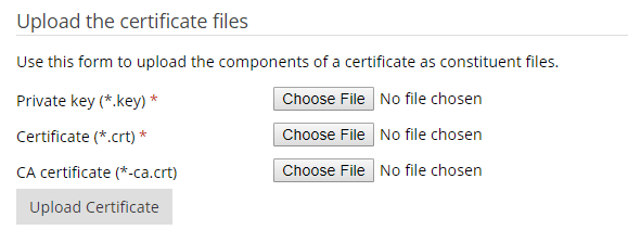 Upload Certificate Files