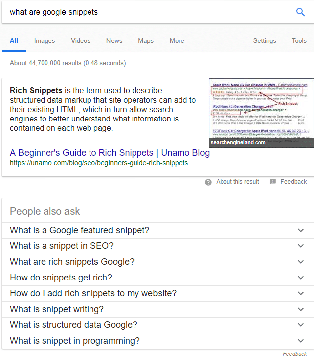 What are Google Snippets