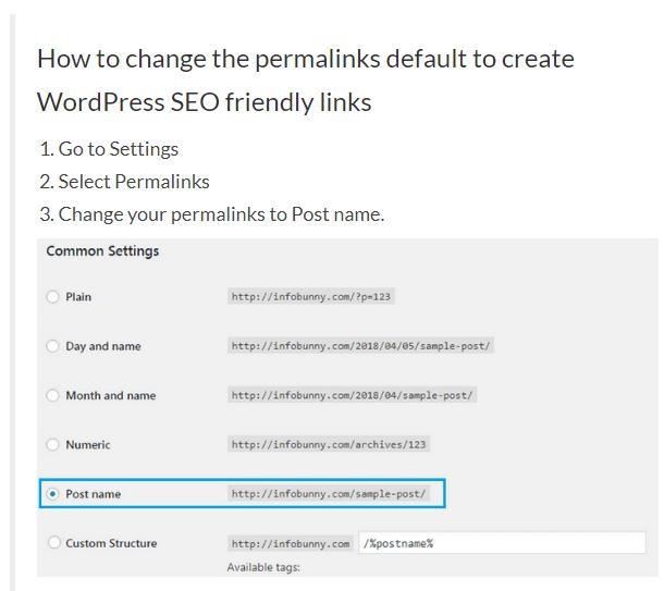 WordPress SEO permalinks